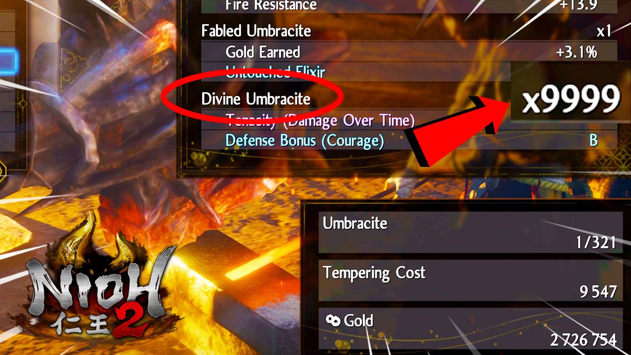 How to Get 9999 Divine Umbracite in Nioh 2